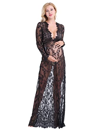 34c23a64aa CHICTRY Women Sexy Deep V-Neck Long Sleeve Lace Maternity Gown Maxi  Photography Dress: Amazon.co.uk: Clothing