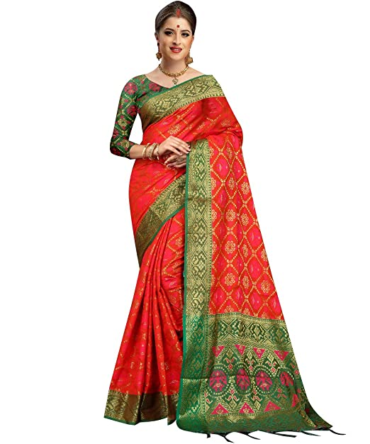 9dc7cbbcd0ff63 Ethnic Diwa New Designer Patola Silk Red   Green Saree With Fabulous Border  For Women  Amazon.in  Clothing   Accessories