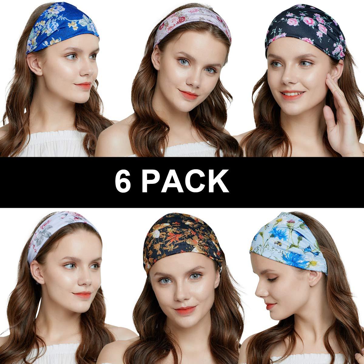 QING Headbands for Women Sweat Wicking Scarf Bandana Elastic Workout Headband Wrap Pack of 6