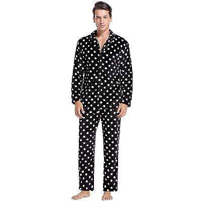 Abollria Men's Polka Dot Pajamas Set Long Sleeve Sleepwear Flannel Lounge Set Button Down Loungewear Pjs Set at Men's Clothing store