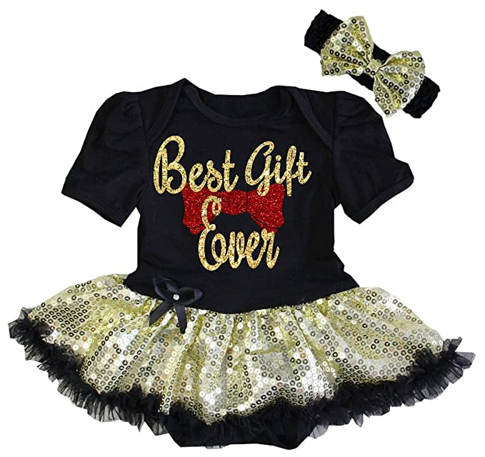 a5ad4a86f All That Glitters and Gold Cute Black Best Gift Ever Glitter First  Christmas Tutu Dress Baby