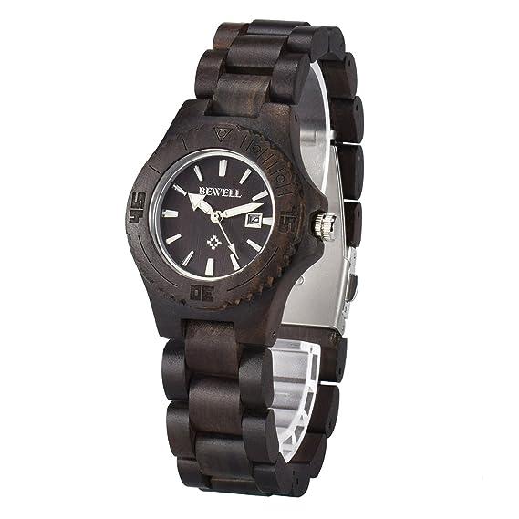 dc5b2d6a5dd6 Bewell Reloj de madera para mujer con calendario movimiento de cuarzo  analógico reloj de pulsera de