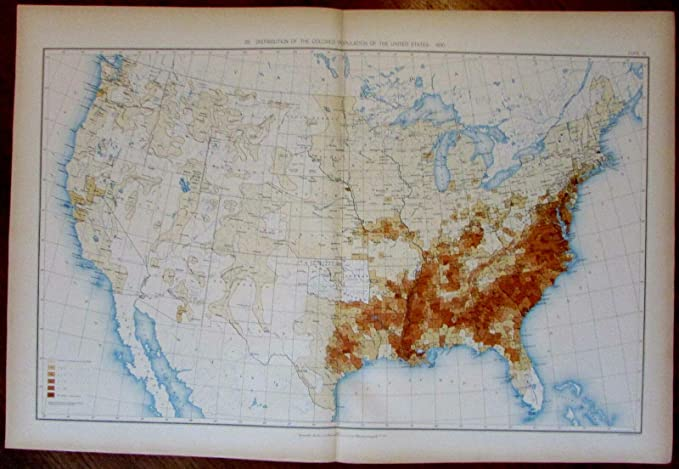 Amazoncom Distributioncolored African American Population 1898 - Us-detailed-map