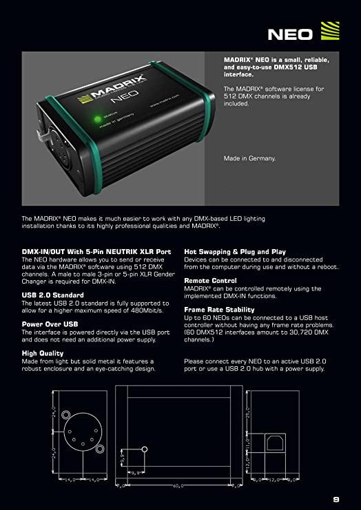 Amazon com: MADRIX NEO USB DMX 512 Ch Controller Interface
