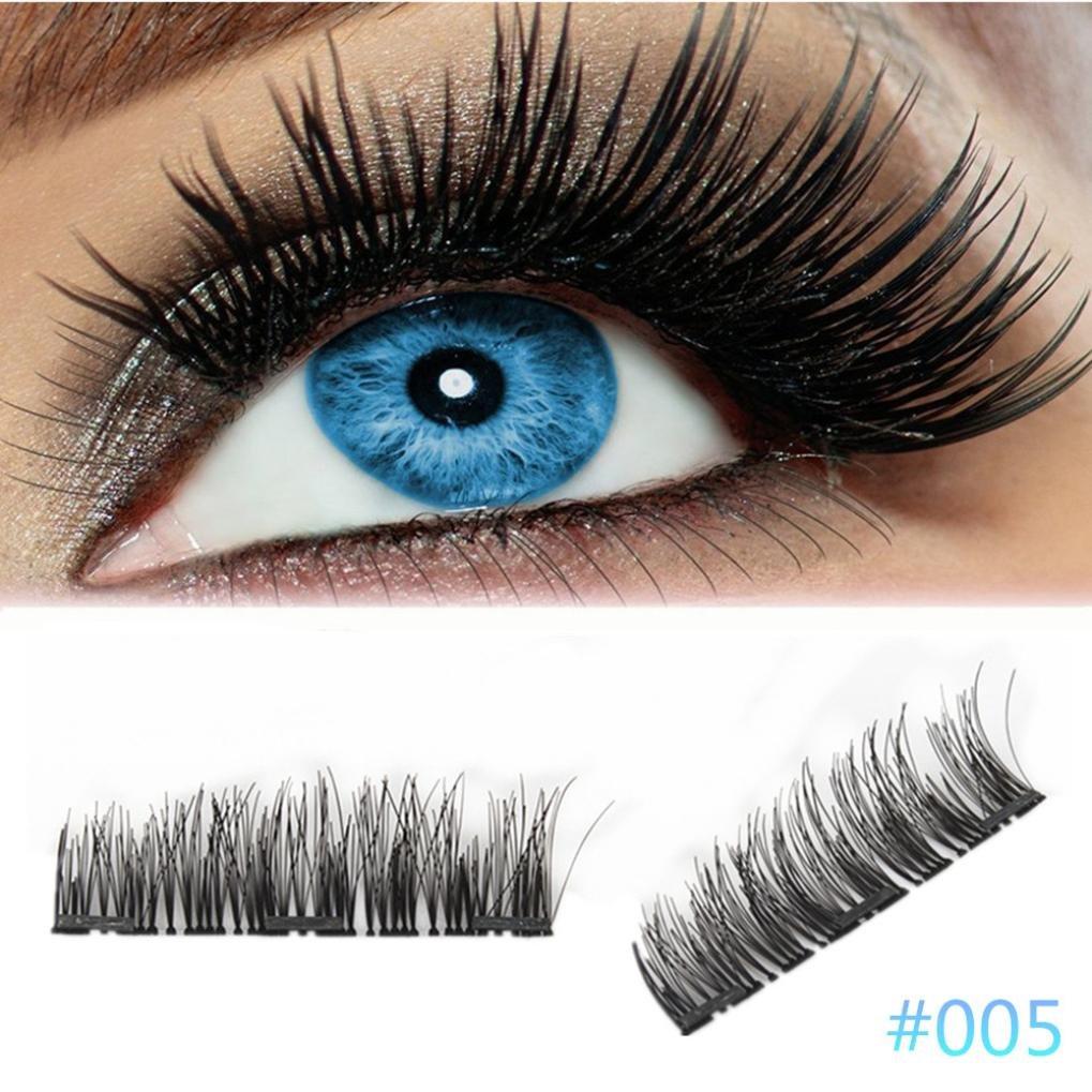 HKFV 2018 Newest 3D Reusable False Magnet Eyelash Amazing Charming Unique Eyes Lashes False Eyes Makeup Ultra-thin 0.2mm Magnetic Eye Lashes 4Pcs (A)