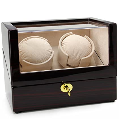 CHIYODA Automatic Double Watch Winder with Two Quiet Mabuchi Motors, LCD Digital Screen