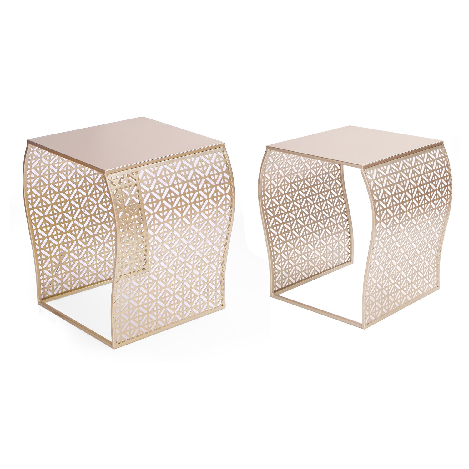 Nesting tables amazon joveco modern designed accent metal nesting stackable gold glass coffee table end table set of geotapseo Image collections