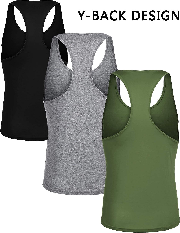 Coofandy Herren 3er-Pack Gym Tank Tops Y-Back Workout Muscle Tee Fitness Bodybuilding T-Shirt