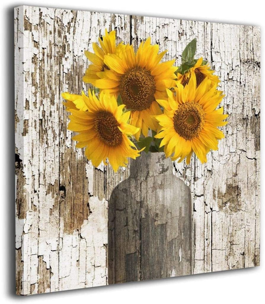 """Rustic Floral Country Farmhouse Sunflower Modern Picture Canvas Wall Art Print Paintings Artwork For Living Room Wall Decor And Home Decor Framed Ready To Hang 16""""x16"""""""