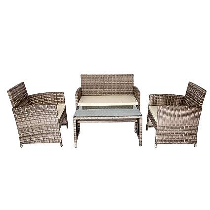 Astounding Uenjoy 4Pc Outdoor Rattan Wicker Patio Furniture Set Cushioned Sofa Table Garden Lawn Khaki Home Interior And Landscaping Ponolsignezvosmurscom
