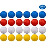 KOFULL Golf Practice Ball, Hollow Golf Plastic Ball for Indoor Training -Pack of 50pcs (5 Colors Available)(White,Yellow…