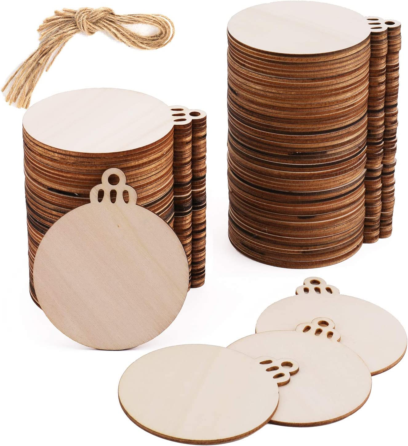Kingrol 100 Pack Natural Wood Slices, 3 Inch Round Wooden Discs with Holes for Crafts Supplies DIY Christmas Ornaments Wedding Hanging Decor