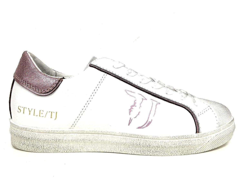Trussardi Jeans Scarpe Donna Sneaker Pelle Bianca Crack Pink DS16TJ06