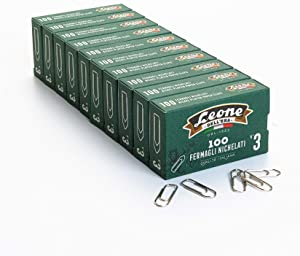 1.000 Heavy Nickel Plated Clips Lion Dell'Era N°3 - mm. 28 - Cue of 10 Boxes of 100 pcs. - Made in Italy