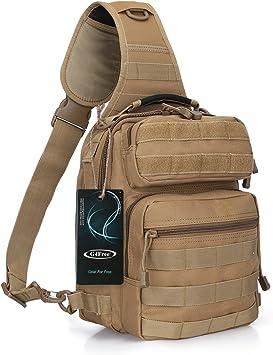 G4Free - Mochila táctica militar, ligera, con correa para el hombro, para senderismo, camping, trekking y viajes, bronceado: Amazon.es: Zapatos y complementos