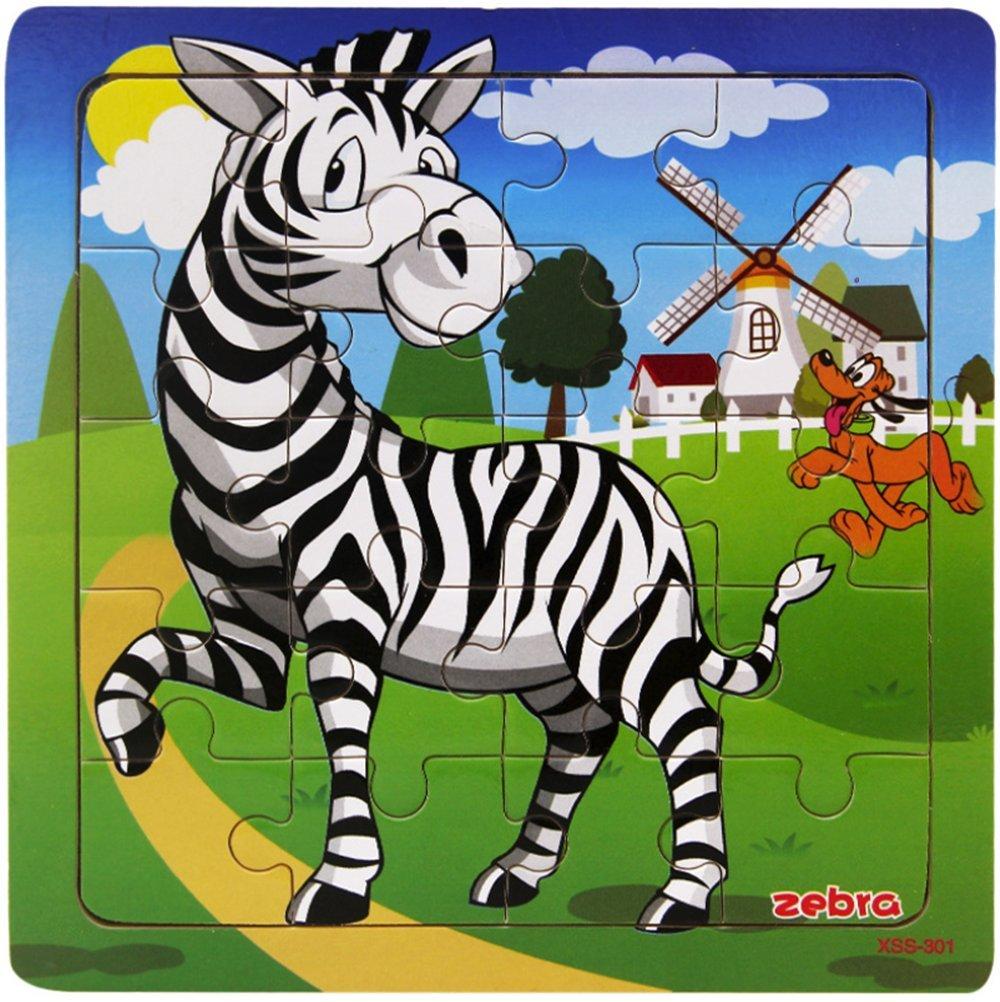 z/èbre Tic-Tac Puzzles 20 Pi/èces B/éb/é Enfant /éveil puzzle en bois Jouet Animaux sauvages