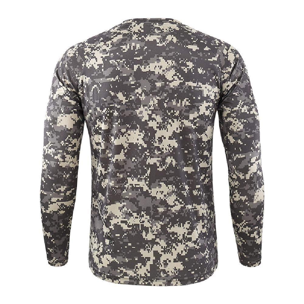 NoBrand T-Shirt à Manches Longues pour Homme Printemps Automne Outdoor Camouflage T-Shirt à séchage Rapide Camouflage Chasse Randonnée Camping Acu.