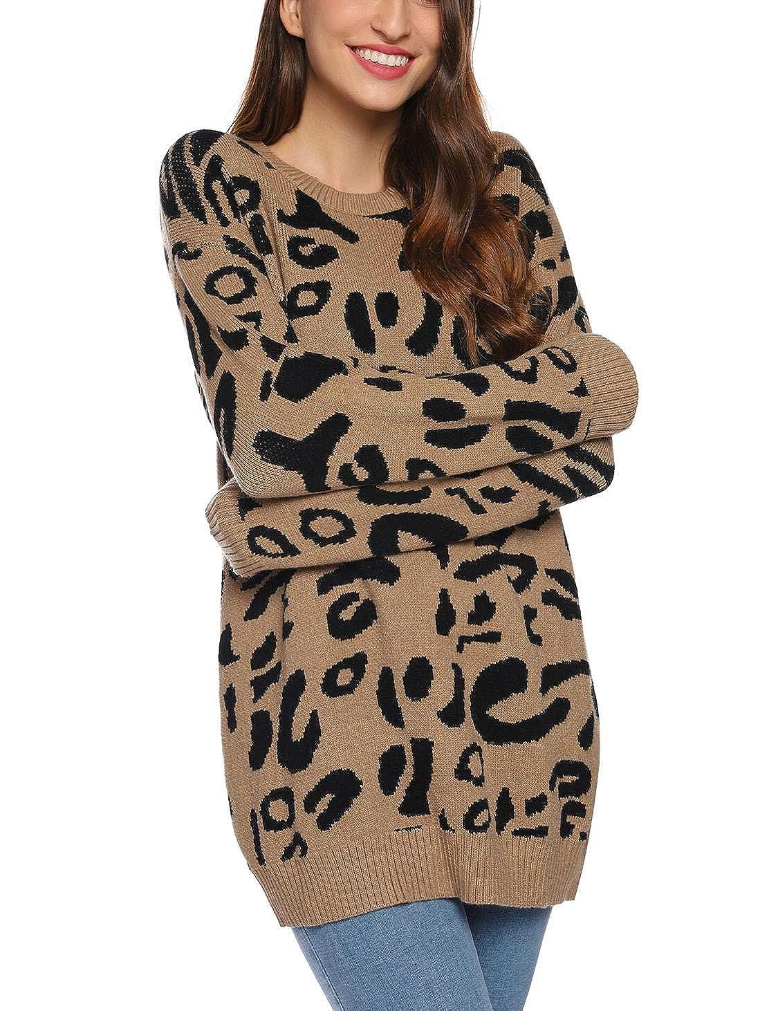 Akalnny Jersey Mujer Cuello Redondo Manga Larga Su/éteres de Leopardo de Moda Oversize Prendas de Punto para Oto/ño Invierno