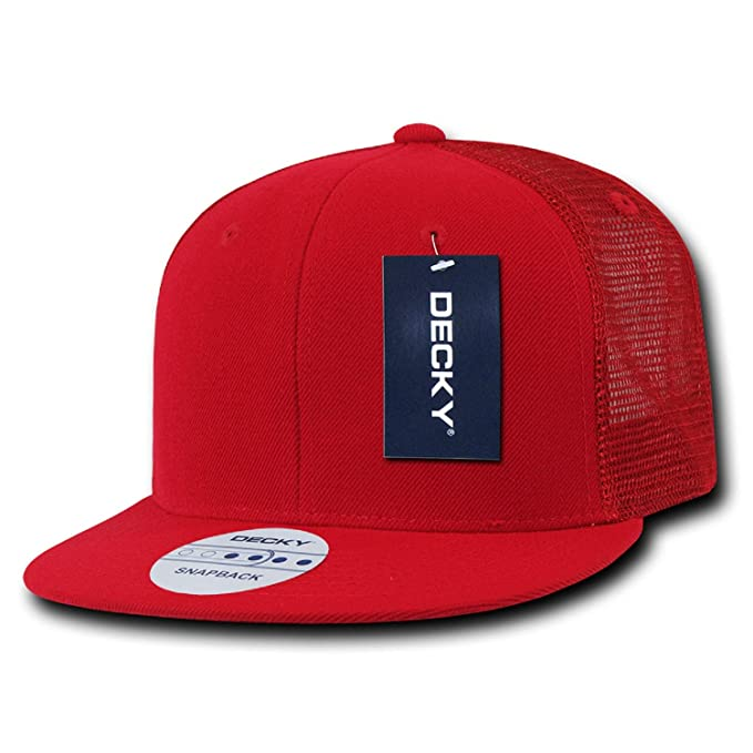9f71b195 Image Unavailable. Image not available for. Color: Red Solid Blank Plain  Mesh Flat Bill Snapback Trucker Baseball Ball Cap Hat