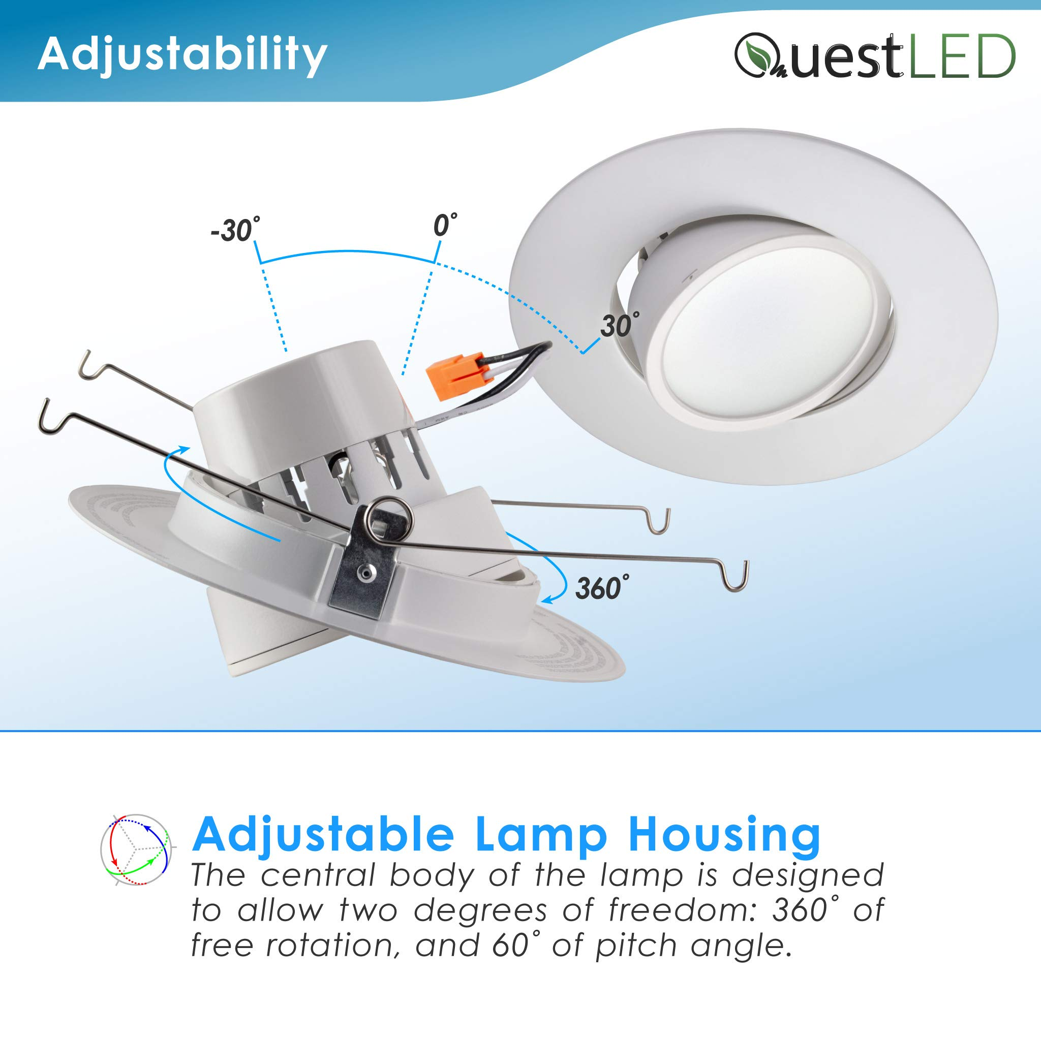 5/6'' inch LED Gimbal Adjustable Rotating Downlight White Trim 16.5W= (100w Equivalent) Damp Location Rated; 25,000 Life Hours; Dimmable to 5%; 5 YR Warranty; 1200 Lumens; Soft White 2700K- (16 Pack) by QUEST MANUFACTURING (Image #6)