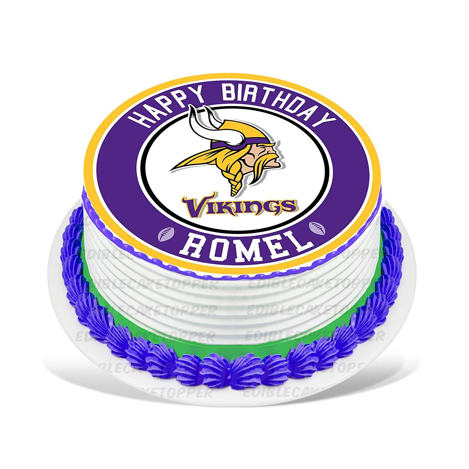 Cakecery Minnesota Vikings Edible Cake Topper Image Personalized Birthday Sheet Party Decoration Round