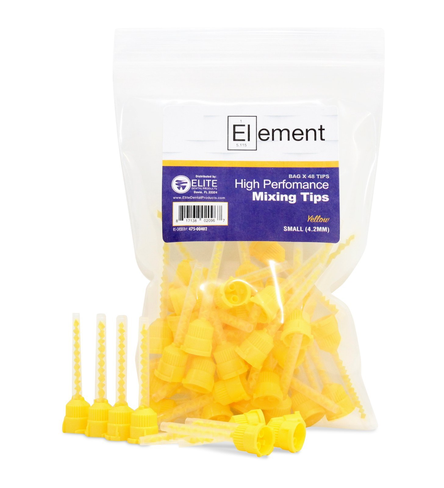 ELEMENT HP YELLOW VPS Mixing Tips 4.2 mm Impression 48/PK Genuine Mixpac