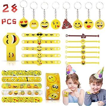 JOYUE 28 Piezas Juguete Emoji, Emoji Llavero Emoji Pulsera Emoji ...