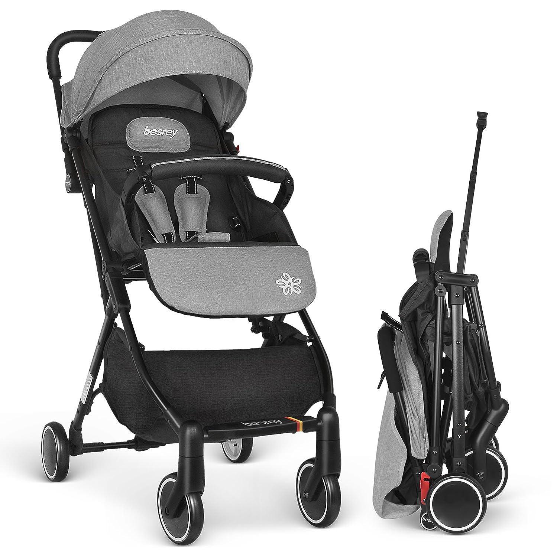 Besrey silla ligera avión compacta plegable silla de paseo RECLINABLE cochecito bebe