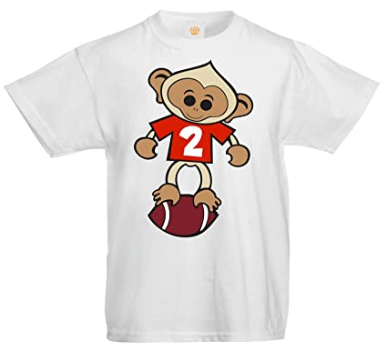 SuperPraise Kids Rugby Number 2 Monkey Two Birthday T Shirt Amazoncouk Clothing