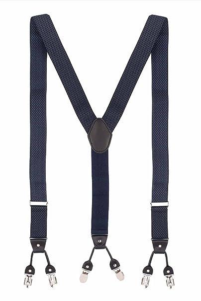 The Tie Hub Men's Elastic Infinite Checkered Y Back Suspender  Blue, Free Size  Suspenders