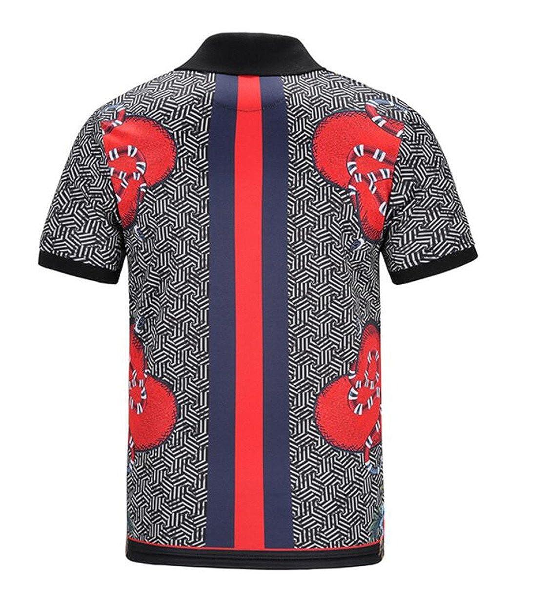 yibiyuan Mens 3D Printed Turn Down Collar Vintage Casual Short Sleeve Polo Shirts