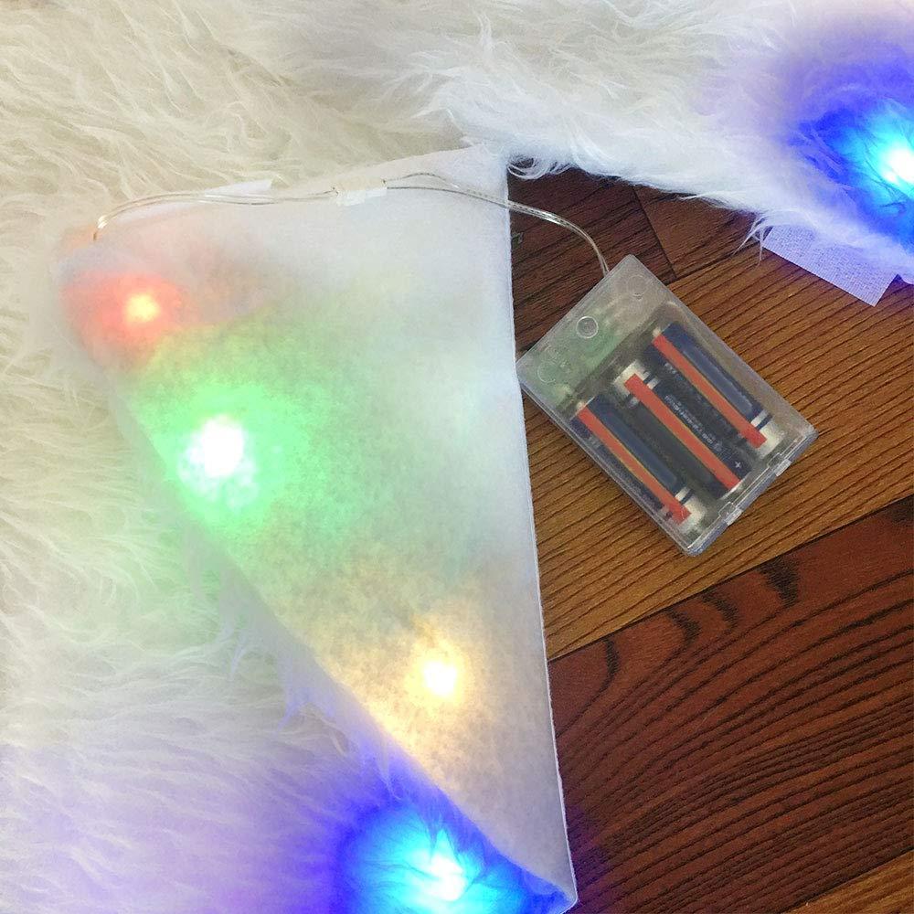 Tapis Sapin de No/ël Peluche avec LEDs Multicolore,Couvre-Pied Arbre de No/ël Peluche Blanc 2019 Nouvelle Diam/ètre 78cm Jupe de Sapin de No/ël D/écoration d/'Arbre de No/ël