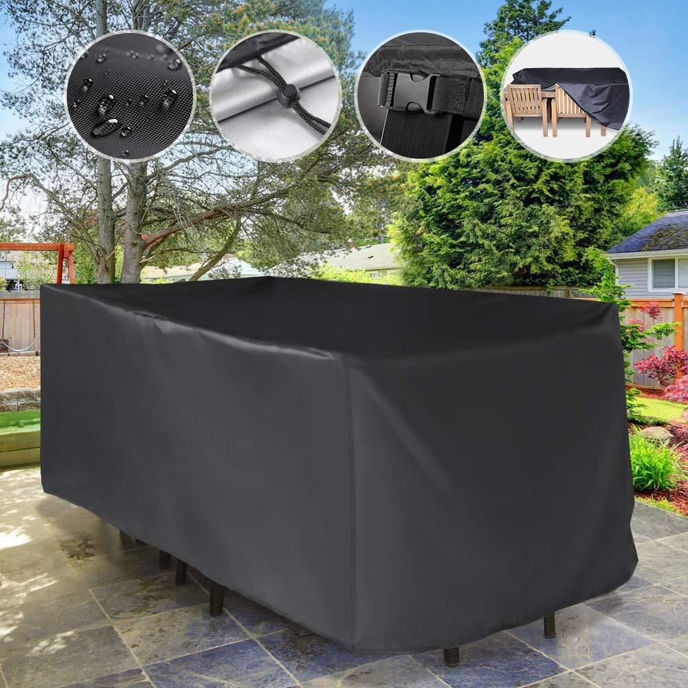YISSVIC Copertura Tavolo Giardino Copertura Tavolo Esterno 242/×162/×100cm Copertura della Mobilia 420D Panno Oxford Protezioni del Patio Anti-UV Impermeabili in Tessuto