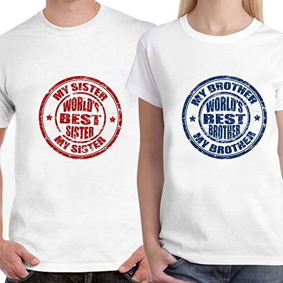 b135ec0c2 LIMIT Fashion Store - Worlds Best Sister and Brother Unisex Couple T-Shirt  (Men