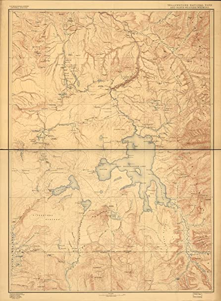 Amazoncom Vintage 1885 Map Of Yellowstone National Park And North - Yellowstone-us-map