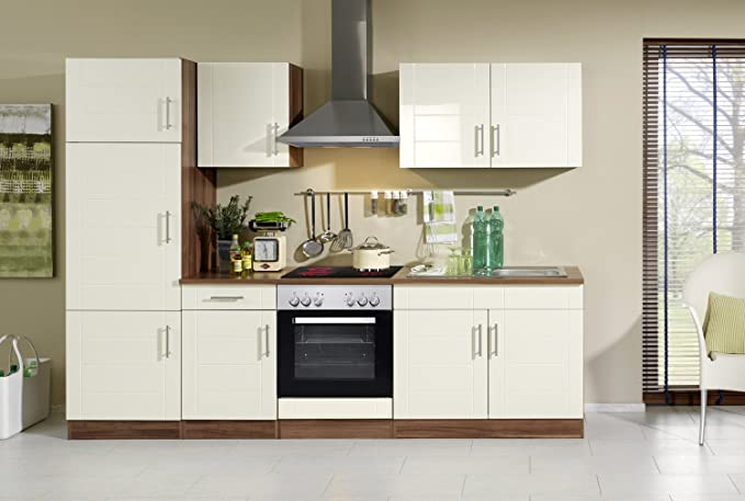Held möbel 645 6034 küchenzeile 270 in hochglanz creme nussbaum amazon de küche haushalt
