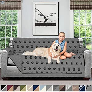 Sofa Shield Original Patent Pending Reversible Sofa Slipcover, 2 Inch Strap Hook, Seat Width Up to 70 Inch Furniture Protector, Couch Slip Cover Throw for Pets, Kids, Cats, Sofa, PAW Gray Black