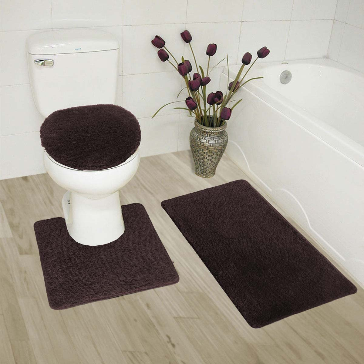 MK Home Collection 3 Piece Bathroom Rug Set Bath Rug, Contour Mat & Lid Cover Non-Slip with Rubber Backing Solid Brown/Chocolate New