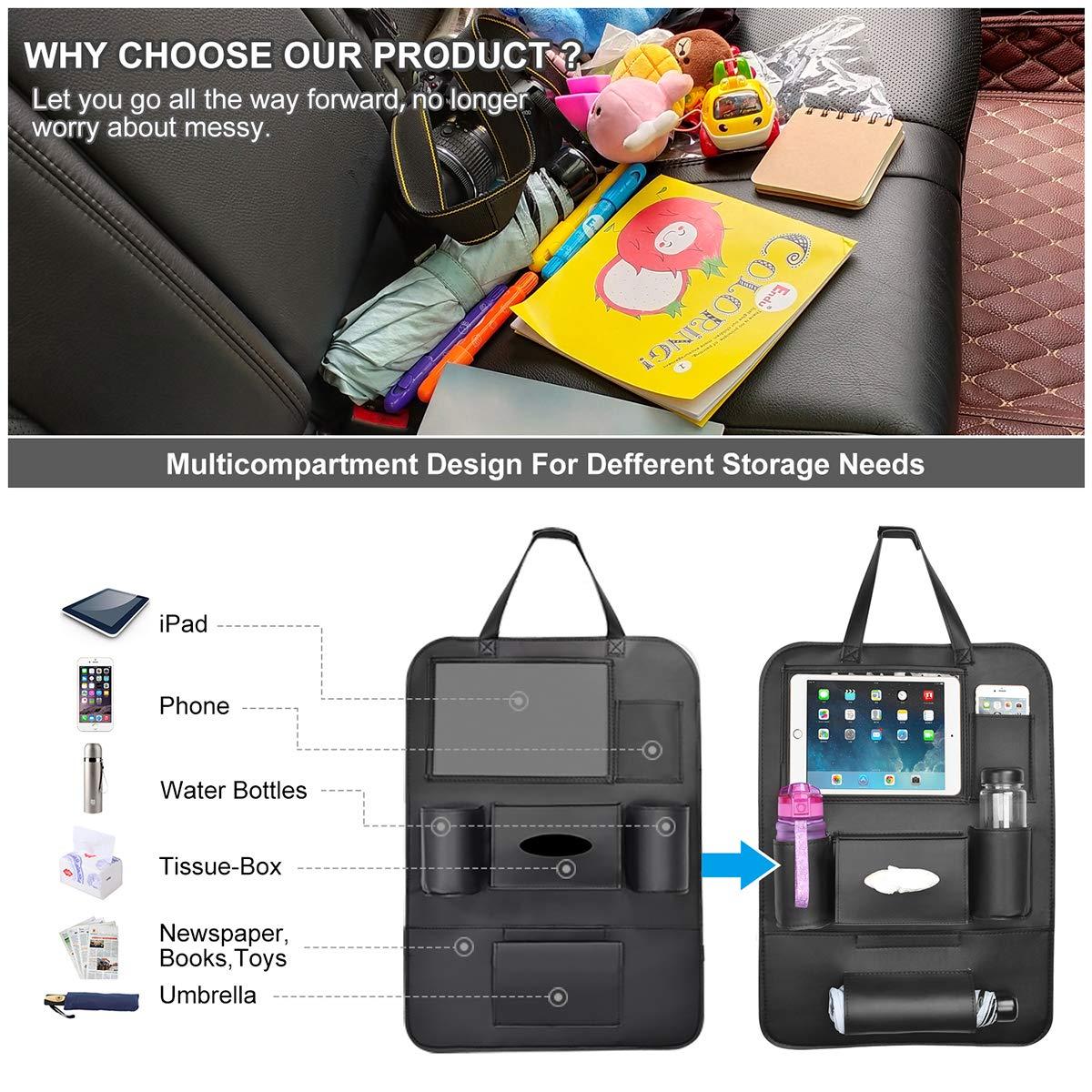 1 Pack Autositzschoner R/ückenlehne Kinder Auto Organizer r/ücksitz kinder mit10 iPad-Tablet-Halter R/ückenlehnenschutz Auto