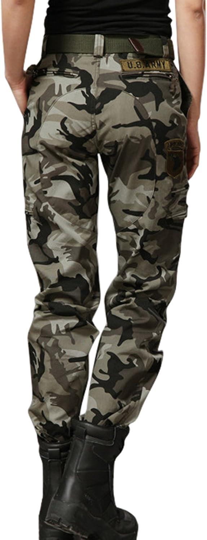 chouyatou Womens Military Straight Fit Stylish Combat Cargo Slacks Pants