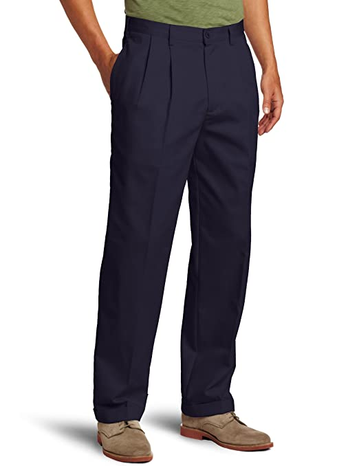 IZOD Men's Big and Tall Pleated Extended Twill Pant, Navy, 44W x 32L