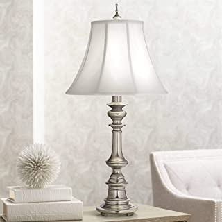 product image for Stiffel TL-N6086-K9079-AN One Light Table Lamp, Antique Nickel Finish with Off White Silk Shade