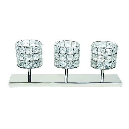Cristal Claro Vela 3 Portavelas Pequeño con Base 26cm Decoración ...