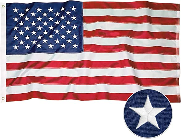 3x5 USA and 3x5 ft Marines Embroidered Nylon 240D Flag House Banner