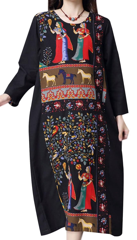 P Ammy Fashion Women's Chinese Style Aztec Patching Dress