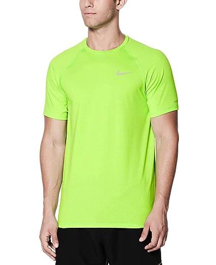 info for 4b2c2 daad6 Nike Mens Heather Short Sleeve Hydro Rash Guard (Green Strike, Large)
