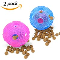 Interactive Dog Treat Toys Set - Best Chew Toys Food Dispensing for Small Medium Large Dogs Pets Puppy Pack of 2, Pink and Blue