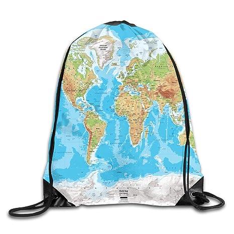 Amazon Com Drawstring Backpack Gym Bag Travel Backpack World Maps