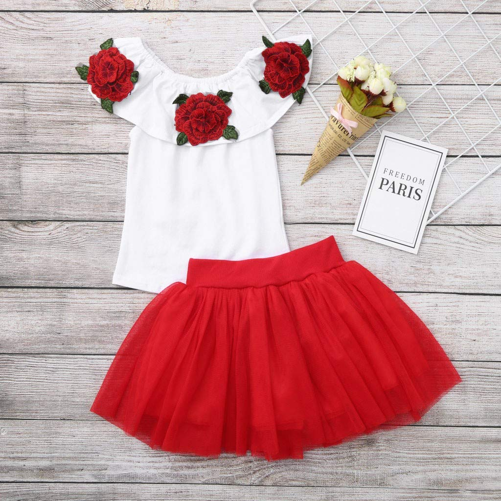 MOGOV 2019 Summer Toddler Baby Girls Off Shoulder Rose Embroidery Tops+Solid Tulle Pleated Skirts Outfits