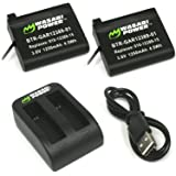 Wasabi Power Battery (2-Pack) and Dual Charger for Garmin VIRB Ultra 30 and Garmin 010-01529-03, 010-12389-15